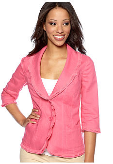 Kim Rogers Petite Linen Jacket with Georgette Trim