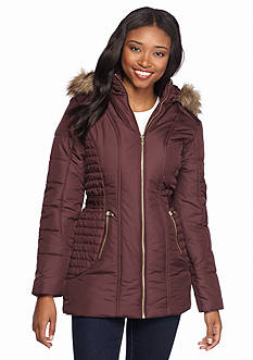 Celebrity Pink Front Zip Puffer Jacket with Faux Fur Hood Coat