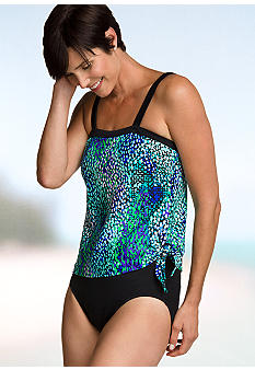Maxine Splash One Piece Faux Tankini