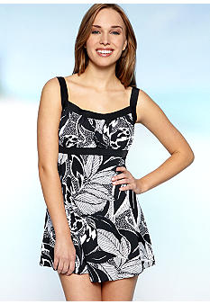 Maxine Tropical Leaf Empire Swimdress