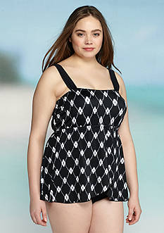 Maxine Plus Size Diamond Treasure Draped Shoulder One Piece Swimsuit