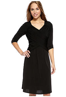 Kim Rogers Petite Solid Slimming Criss Cross Dress
