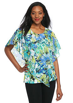 Kim Rogers Floral Poncho Overlay