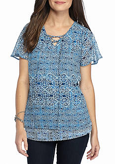 Kim Rogers Printed Flutter Sleeve Top