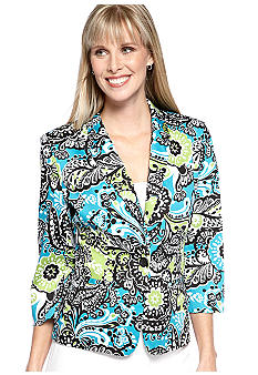 Kim Rogers Three Quarter Sleeve Printed Blazer