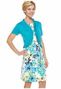 Kim Rogers Printed Cotton Sateen Dress with Sweater Shrug