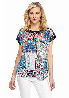 Kim Rogers Printed Lace Neck Top