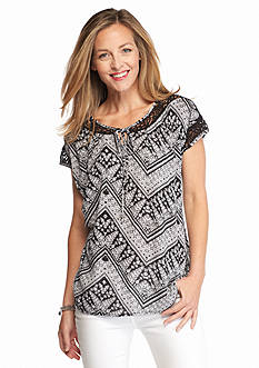 Kim Rogers Printed Tie Front Top