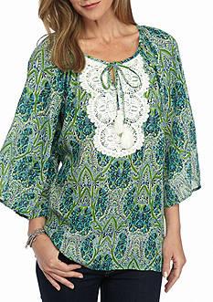 Kim Rogers 3/4 Sleeve Peasant Crochet Top