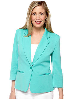 Kim Rogers® Solid Three Quarter One Button Blazer With Besom Pockets