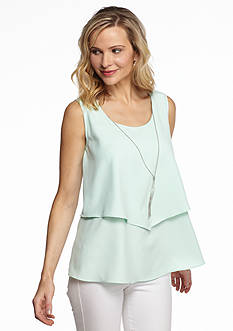 Kim Rogers Sleeveless Double Layer Necklace Top