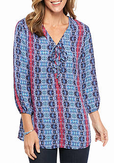Kim Rogers 3/4 Sleeve Printed Lace-up Blouse