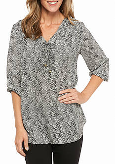 Kim Rogers 3/4 Sleeve Printed Blouse with Tie