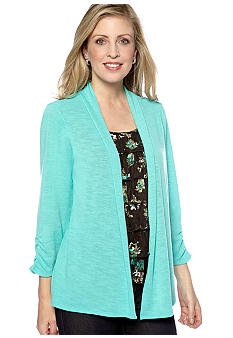 Kim Rogers Three Quarter Sleeve Sweater With Attached Lace Tank