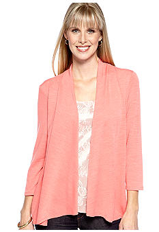 Kim Rogers Three Quarter Sleeve Cozy Cardigan With Lace Insert
