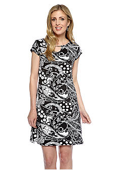Kim Rogers Printed Hardware Sheath Dress