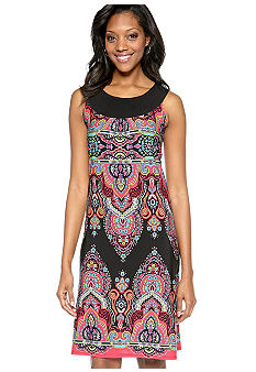 Kim Rogers Boarder Placement Print Dress