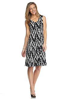 Kim Rogers Sleeveless V Neck Godet Dress