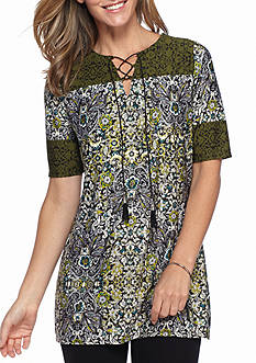 Kim Rogers Elbow Sleeve Print Lace Up Top
