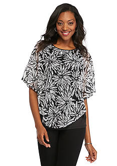 Kim Rogers Floral Print Lace Poncho 2Fer Top