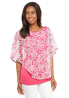 Kim Rogers Floral Print Lace Poncho 2Fer Top