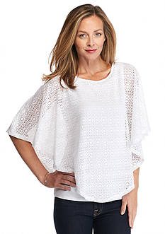Kim Rogers Solid Lace Poncho 2Fer Top