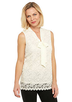 Kim Rogers Bow Neck Sleeveless Lace Top
