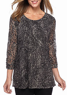 Kim Rogers Printed Lace Swing Top