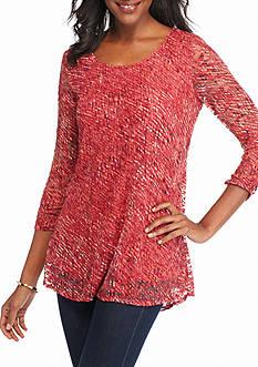 Kim Rogers 3/4 Sleeve Printed Swing Top