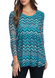 Kim Rogers 3/4 Sleeve Printed Lace Swing Top
