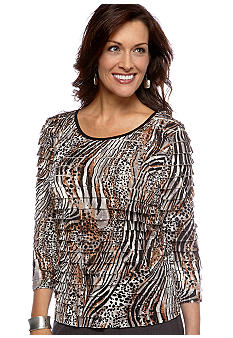 Kim Rogers Three Quarter Sleeve Printed Eyelash Pullover