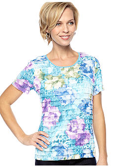 Kim Rogers Printed Short Sleeve Ruffle Top