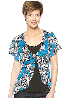 Kim Rogers Short Sleeve Print Knit Top