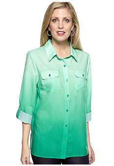 Kim Rogers Three Quarter Sleeves Ombre Utility Shirt