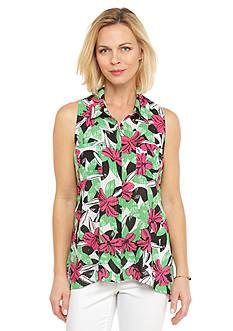 Kim Rogers Sleeveless Swing Printed Shirt