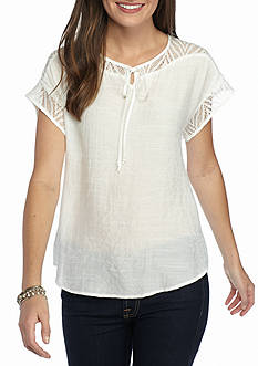 Kim Rogers Tie Front Lace Top