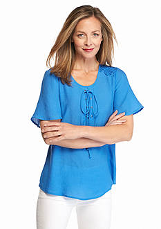 Kim Rogers Solid Lace-Up Top