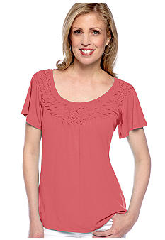 Kim Rogers Short Sleeve Basket Weave Neck Top