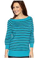 Kim Rogers® Three-Quarter-Sleeve Striped Sweater