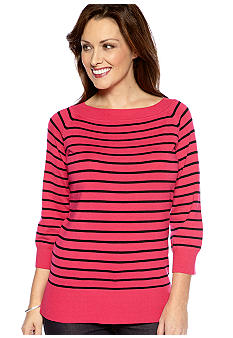 Kim Rogers Three-Quarter-Sleeve Striped Sweater