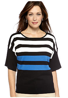 Kim Rogers Stripe Crew Neck Elbow Sleeve Pullover