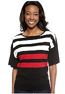 Kim Rogers® Stripe Crew Neck Elbow Sleeve Pullover