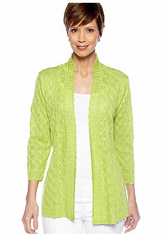 Kim Rogers Three Quarter Open Front Pointelle Cardigan
