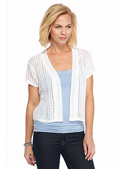 Kim Rogers Short Sleeve Pointelle Cardigan