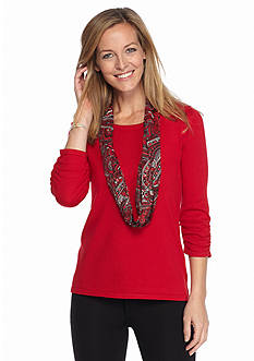 Kim Rogers Three-Quarter Sleeve Pullover With Scarf