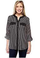 Kim Rogers® Three Quarter Sleeve Printed Utility Shirt
