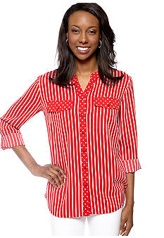 Kim Rogers Three Quarter Sleeve Printed Utility Shirt
