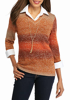 Kim Rogers Marled V-Neck 2Fer with Necklace