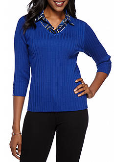 Kim Rogers 2Fer Solid Ribbed with Pattern