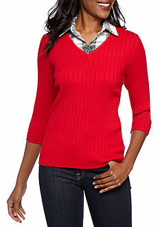 Kim Rogers 2Fer Solid Ribbed with Pattern Collar